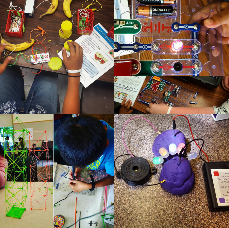 ideaX programs from this year. Clockwise from top left: a teen making bongos out of bananas, a pair of tweens building one of the more complicated snap circuits, a kid creating with a 3D printing pen, squishy circuits used to teach about electricity.