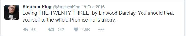 Stephen King tweet recommending Twenty Three by Linwood Barclay