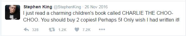Stephen king tweet recommending Charlie the Choo-choo