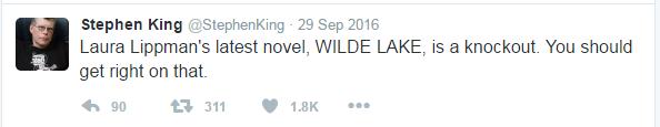 stephen king tweet recommending Wilde Lake