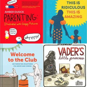 Cover collage of books on parenting humor