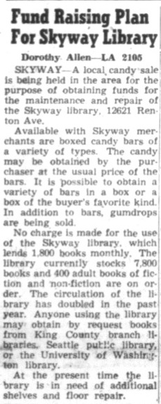 Renton News Record clipping from 1957 detailing a candy fundraiser for the Skyway Library