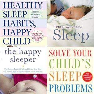 Cover collage of books about sleep for new parents