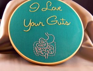 "A cross-stitch piece on teal cloth that says ""I love your guts"" in yellow thread and a representation of the human digestive system in pink"