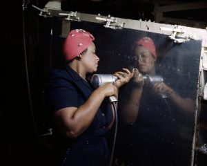 "A ""Rosie"" working on the A-31 Vengeance bomber in Nashville, Tennessee."