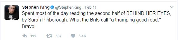 stephen king tweet recommending Behind Her Eyes by sarah Pinborough
