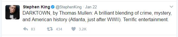 a stephen king tweet recommending darktown by thomas mullen