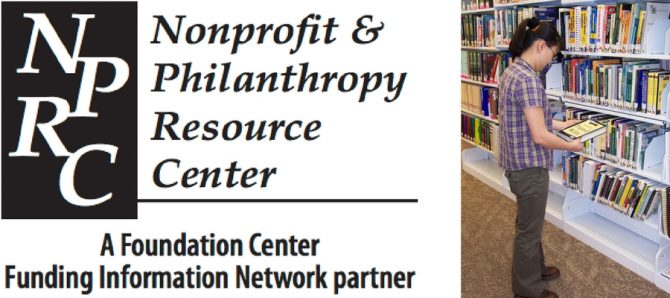 Nonprofit & Philanthropy Resource Center (NPRC) A Foundation Center Funding Information Research Partner and patron browsing special collection of philanthropy books