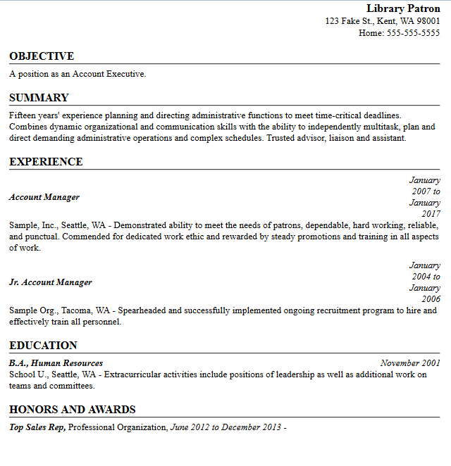 sample resume created in resume builder library patron contact info objective summary
