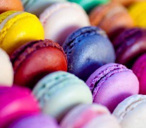 Macaron cookies in many different colors.