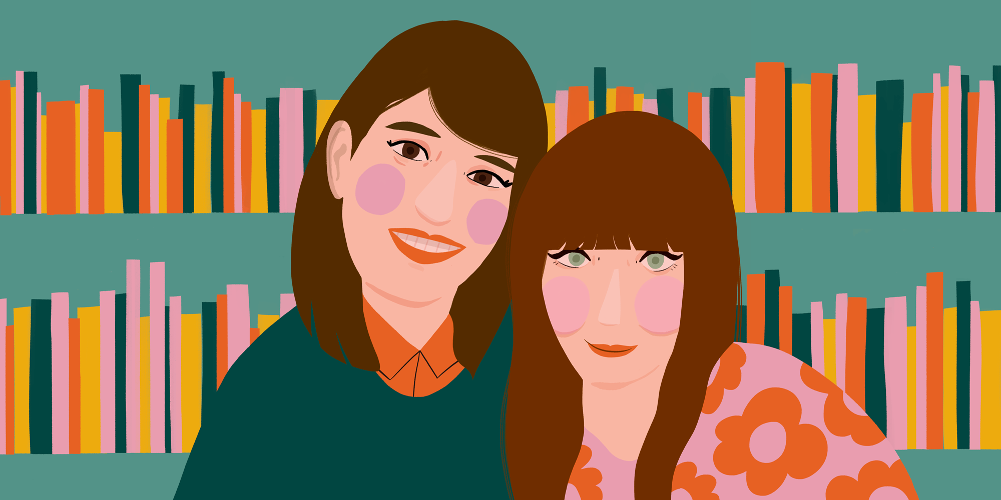 Illustrated portrait of librarians and podcast hosts Emily Calkins and Britta Barrett